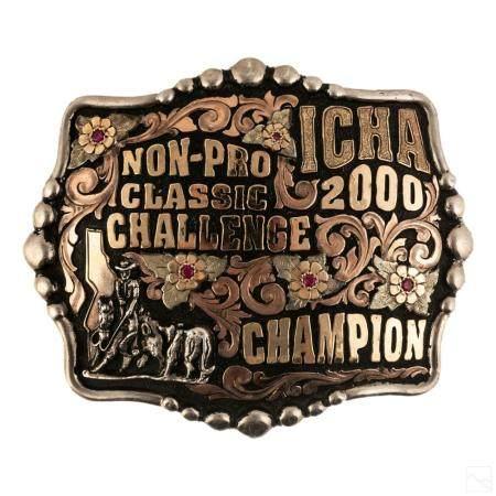 Bob Berg Sterling Silver Ruby Cowboy Belt Buckle