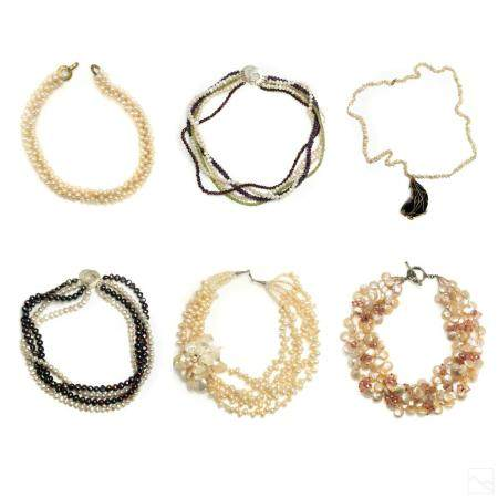 Fresh Water Pearl Beaded Vintage Necklaces Group