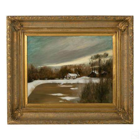Hai Ou Hou Chinese Winter Landscape Oil Painting