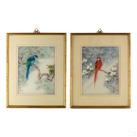Chinese Birds Vintage Silk Paintings Estate Group
