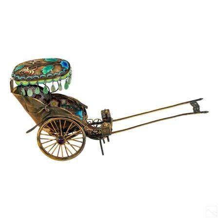 Chinese Gilt Silver Jeweled Enamel Sedan Carriage