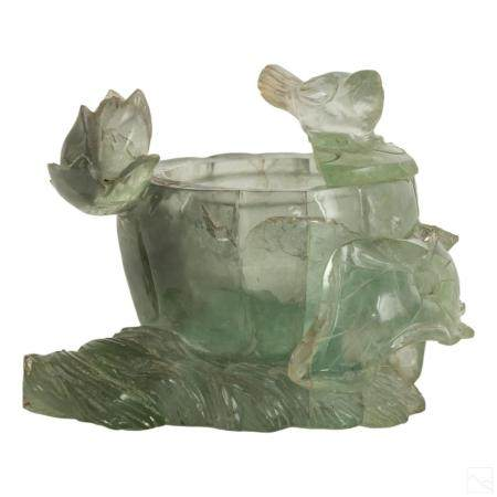 Chinese Antique Carved Fluorite Stone Wash Pot