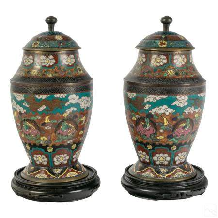 Chinese Pair Antique Bronze Cloisonne Covered Urns