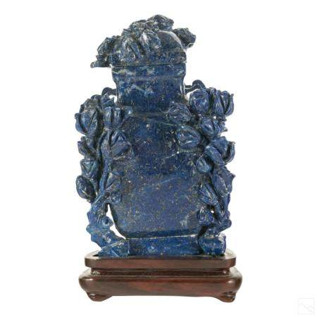 Chinese Carved Lapis Lazuli Antique Covered Vase