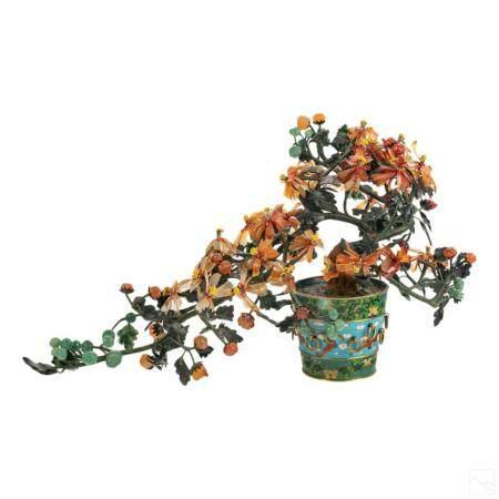 Chinese Antique Jade Bonsai Tree In Cloisonne Vase