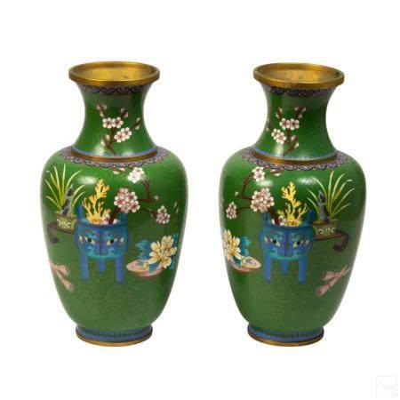 Chinese VTG Fine Wire Cloisonne Enamel Vases PAIR