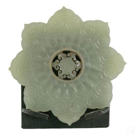 Chinese Antique White Jade Disc with Swivel Center