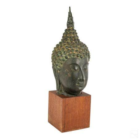 Chinese Antique Bronze Buddha Head Bust Sculpture