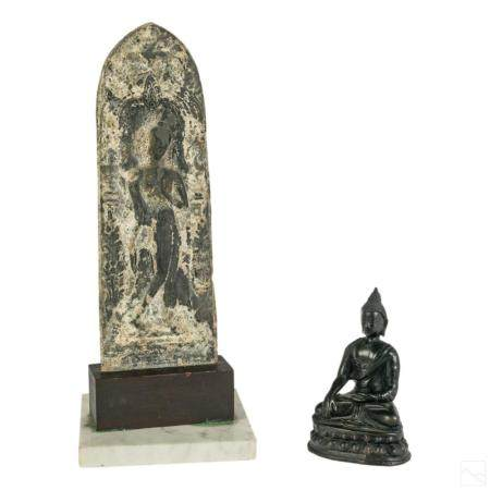 Chinese Tibetan Antique Buddha Sculpture & Plaque