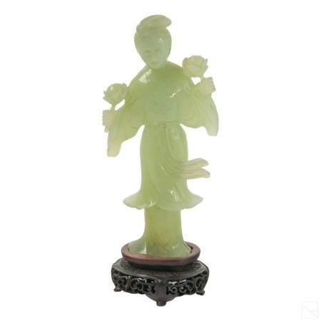 Chinese Carved Jade Kuan Yin Antique Lotus Figure