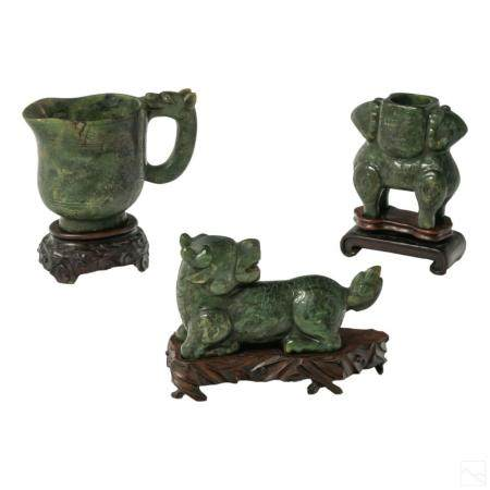 Chinese Antique Carved Spinach Jade Figurine Group