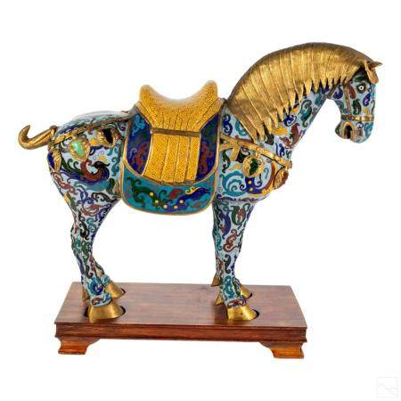 Chinese Tang Style Cloisonne Enamel Horse On Base