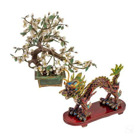 Chinese Export Cloisonne Dragon & Jade Tree Group