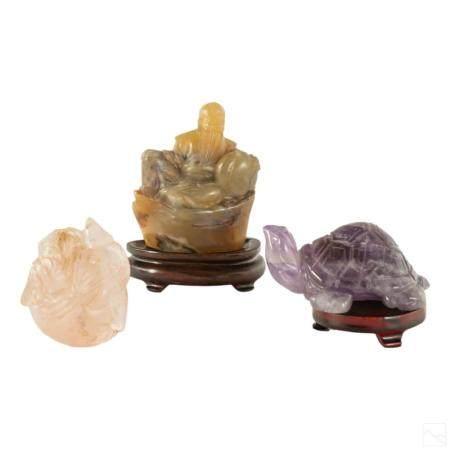 Chinese Carved Jade Quartz Amethyst Figurine Group