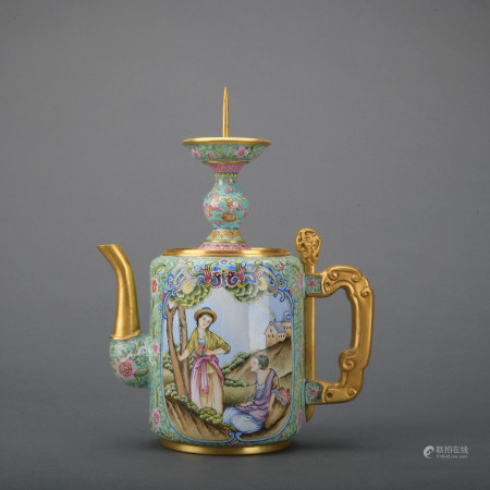 A enamel 'figure' teapot
