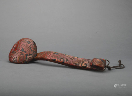 A carved lacquerware Ruyi