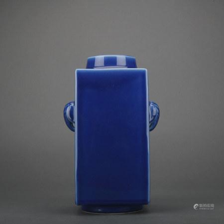 A blue glazed vase