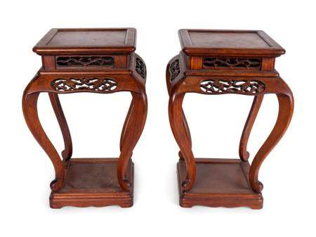 A Pair of Chinese Pierce-Carved Rosewood Stands