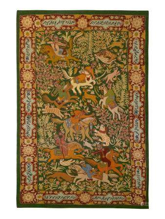 An Indian Crewelwork Copy of a Qum Hunting Rug