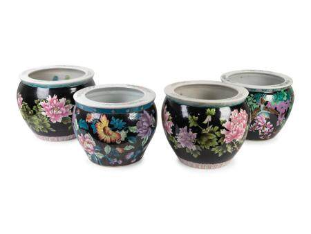 Two Pair of Chinese Famille Noire Porcelain Jardinieres