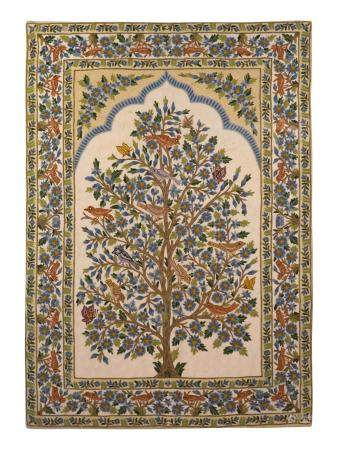 An Indian Crewelwork Copy of a Tree of Life Pattern Prayer Rug