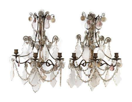 A Set of Four Louis XV Style Brass and Glass Three-Light Sconces
