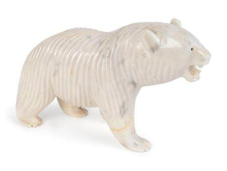 A Carved and Polished White Marble Figure of a Polar Bear