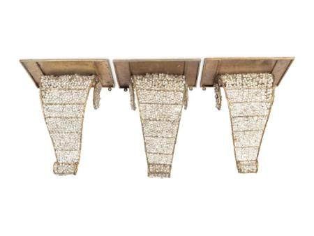 Three Neoclassical Style Gilt-Metal and Beaded Glass Brackets