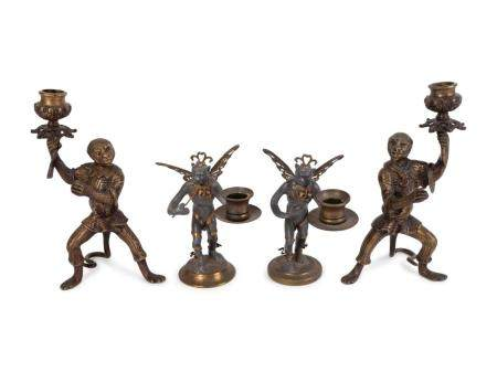 Two Pair of Bronze Monkey-Form Candlesticks