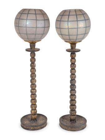 A Pair of Persian Painted Candlestick Lamps with Globes