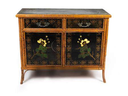 A Victorian Bamboo and Lacquer Cabinet