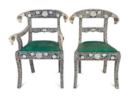 A Set of Eight Indian Mother-of-Pearl-Inlaid Dining Chairs
