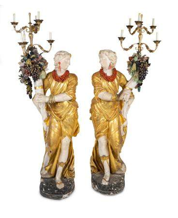 A Pair of Italian Baroque Style Parcel-Gilt and Carved Wood and Gesso Figural Candelabra