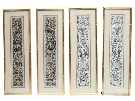 FOUR FRAMED CHINESE FORBIDDEN STITCH PANELS