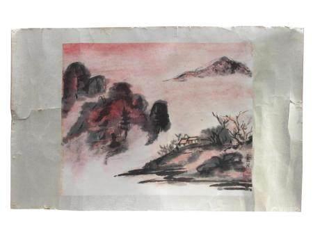 A VINTAGE CHINESE WATERCOLOR LANDSCAPE