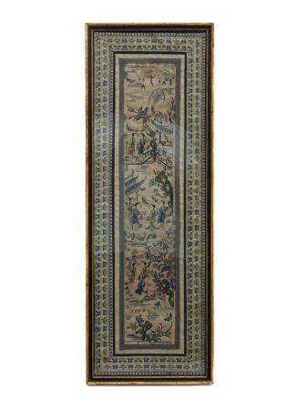 A CHINESE FRAMED SILK EMBROIDARY, 19TH CEN.