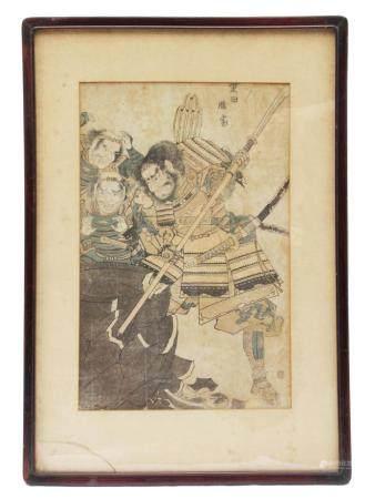 AN ANTIQUE JAPANESE WOODBLOCK PRINT EDO PERIOD