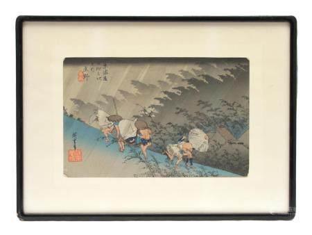 AN ANTIQUE UTAGAWA HIROSHIGE WOODBLOCK PRINT