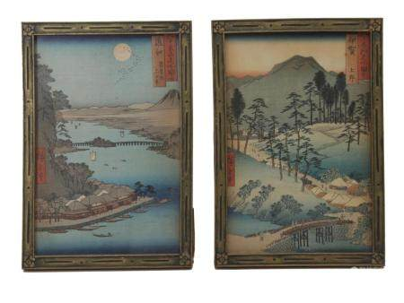 A PAIR OF ANTIQUE JAPANESE WOODBLOCK BY HIROSHIGE