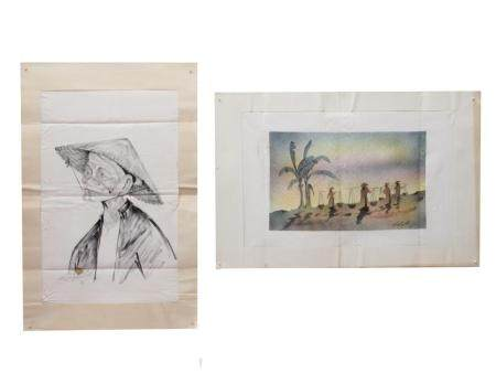 A LOT OF PENCIL PAINTING ON PAPER AND LITHOGRAPH
