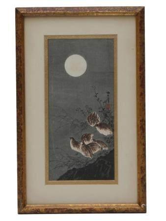 AN AOKI SEIKO JAPANESE BIRDS IN THE MOONLIGHT