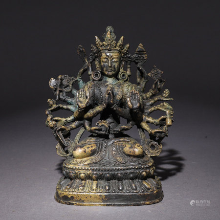 Bronze Gilt Multi-armed Guanyin