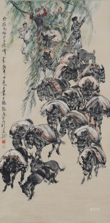 A Chinese Scroll Painting By Huang Zhou