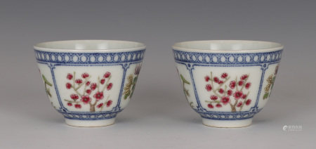 Pair Underglaze Blue and Famille Rose Cups