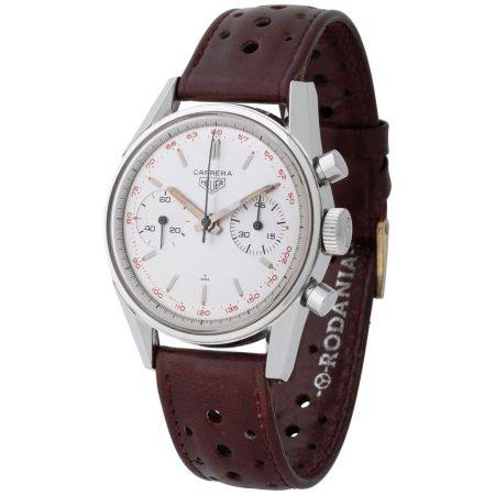 Heuer. Sporty and Fascinating Carrera Wristwatch in Stainless Steel, Reference 3647, With Red T