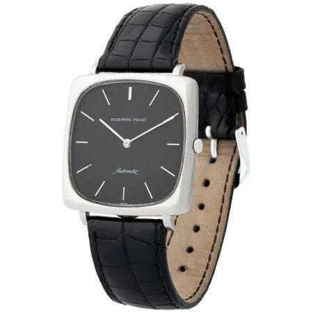Audemars Piguet. Highly Rare and Extremely Well-Preserved TV Wristwatch in White Gold, With Bla