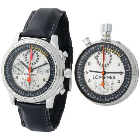Longines. Rare and Important Honour and Glory Set in Steel of Chronograph Wristwatch Reference