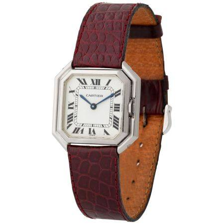 Cartier. Special Ceinture Octagonal-Shaped Wristwatch in White Gold, With Enameled Roman Number