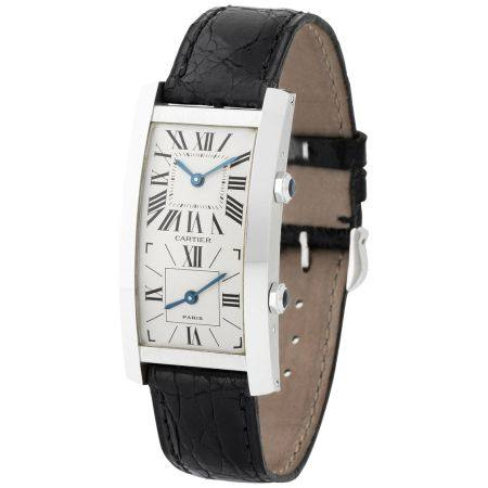 Cartier. Original and Exceptional Tank Cintrée Dual-Time Wristwatch in White Gold With Papers a