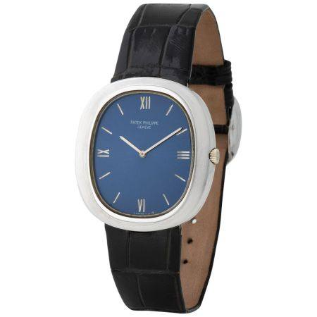 Patek Philippe. Iconic and Very Attractive Ellipse in White Gold, Reference 3589, With Blue Dia